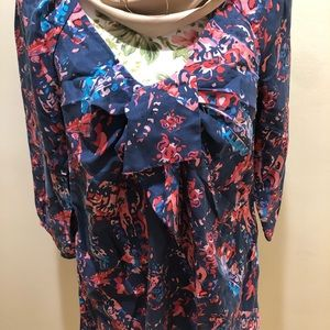 Satin Floral Print Empire Dress By JUICY COUTURE